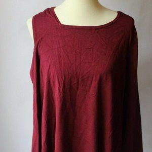 Alfani Asymmetrical Cold Shoulder Sweater Red XXL